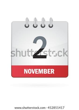 November Two. Calendar Icon - stock vector