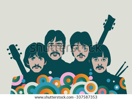 NOVEMBER 8 2015: Vector Illustration of The Beatles with instruments, George Harrison, John Lennon, Paul McCartney and Ringo Starr, eps10, vector, illustrative editorial - stock vector - stock vector