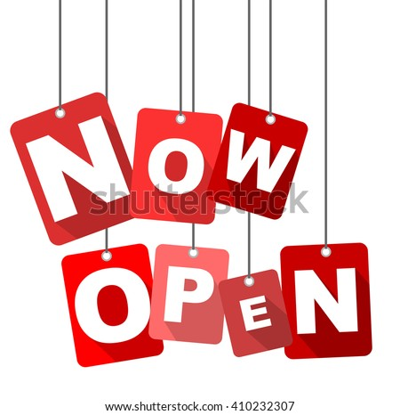 now open, red vector now open, red tag now open, flat vector now open, element now open, sign now open, design now open, background now open, illustration now open, picture now open, now open eps10 - stock vector