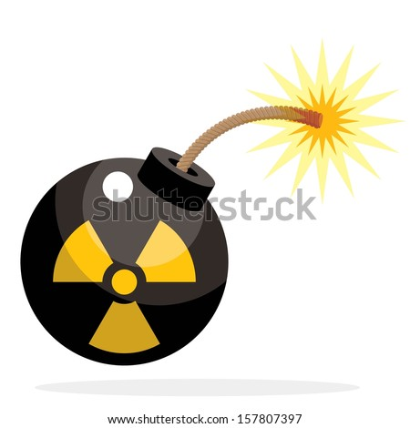 nuclear bomb activated, cartoon funny style - stock vector