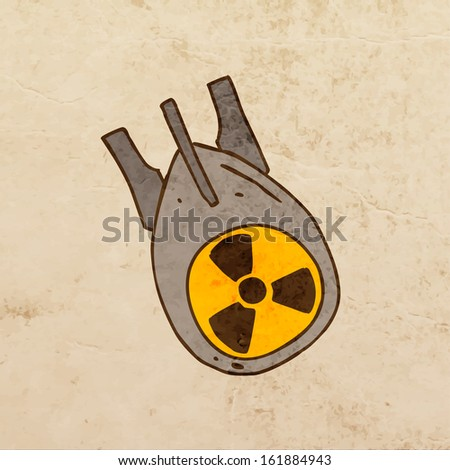 Nuclear Bomb. Cute Hand Drawn Vector illustration, Vintage Paper Texture Background - stock vector