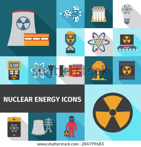 Nuclear energy contribution in global electricity supply flat icons set with radioactivity sign abstract isolated vector illustration - stock vector