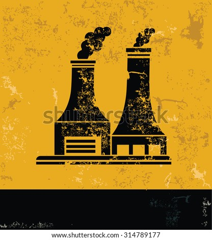 Nuclear, industry design on grunge yellow background, grunge vector - stock vector