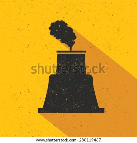 Nuclear industry design on yellow background,retro yellow background,clean vector - stock vector