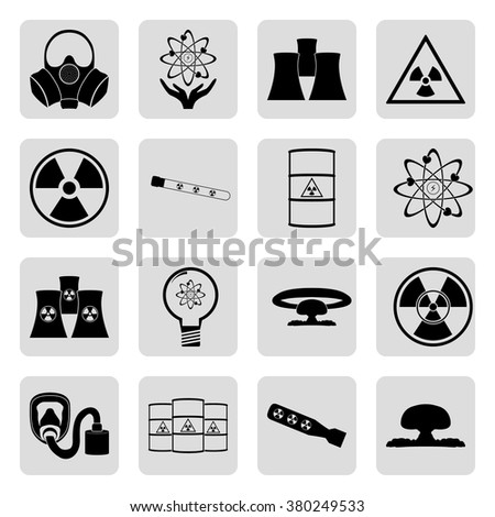 Nuclear power energy 16 simple  icons set - stock vector