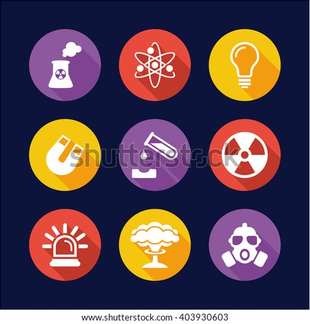 Nuclear Power Plant Icons Flat Design Circle - stock vector
