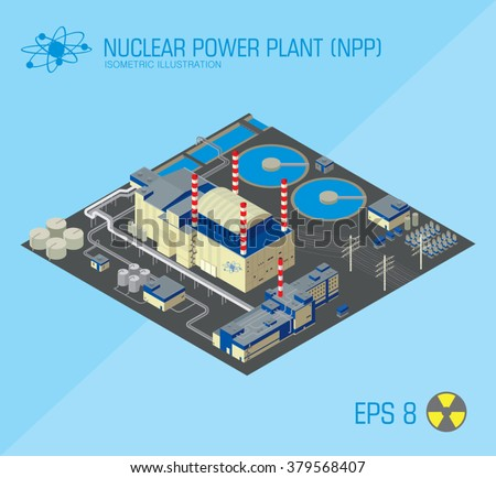 nuclear power plant isometric icon. view from above. vector illustration - stock vector