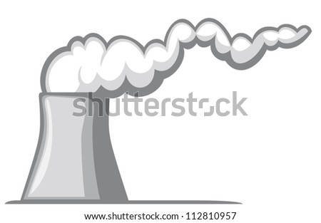 nuclear power plant (nuclear power station, cooling tower with smoke) - stock vector
