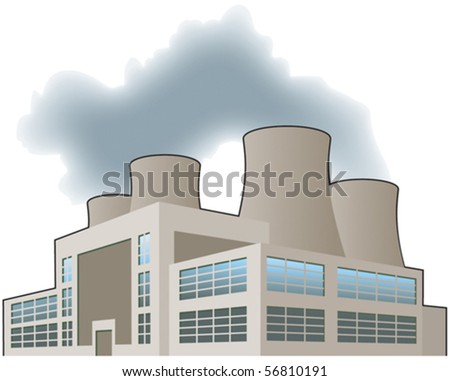 Nuclear power station - stock vector