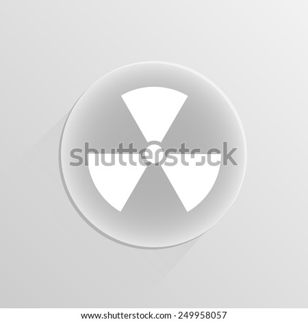 Nuclear sign. Vector illustration on a white button with shadow  - stock vector