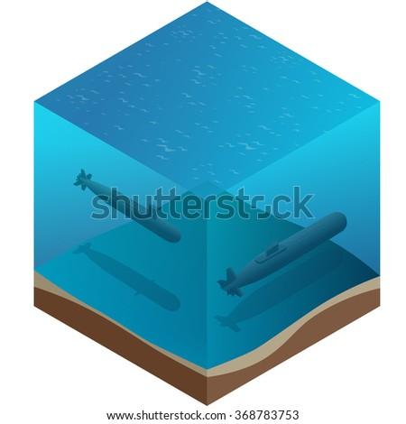Nuclear submarine, Nuclear submarine traveling underwater, Nuclear powered submarines, submarine ship, Nuclear submarine 3d, Nuclear submarine isometric illustration, Nuclear submarine - stock vector