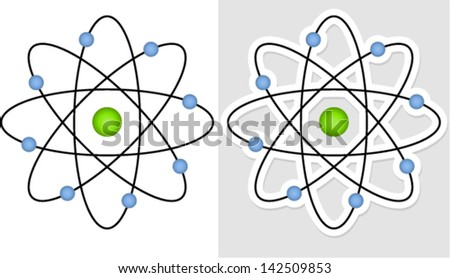 Nucleus and orbiting electrons - atom (atomic, science, research, education concepts) - stock vector