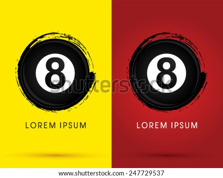 Number 8, Billiards ball,snooker, designed using grunge brush , logo, symbol, icon, graphic, vector. - stock vector
