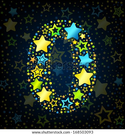 Number 0 cartoon kid style vector font with  colored  stars - stock vector