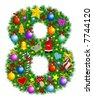 NUMBER 8 - Christmas tree decoration - part of a full set vector - stock vector