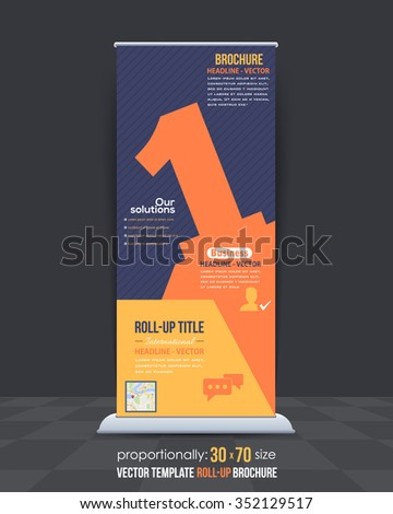 Number 1 Colorful Business Roll-Up Banner Design, Vertical Advertising - stock vector