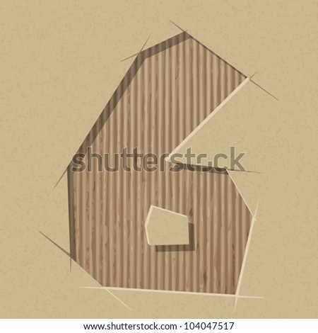 Number 6 cut out on a cardboard. Vector paper alphabet - stock vector