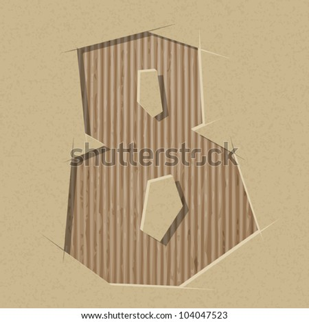 Number 8 cut out on a cardboard. Vector paper alphabet - stock vector