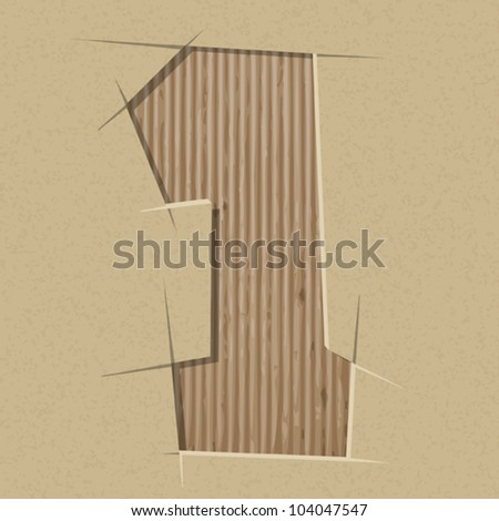 Number 1 cut out on a cardboard. Vector paper alphabet - stock vector