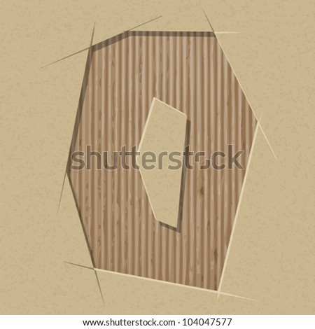 Number 0 cut out on a cardboard. Vector paper alphabet - stock vector