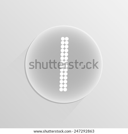 Number digital one on a white button with shadow  - stock vector