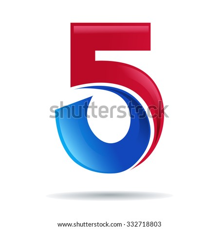 Number five logo. blue and red glossy style. Vector design ...