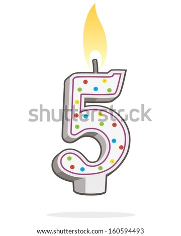 number five shaped lit birthday candle  - stock vector