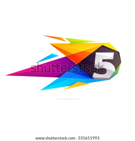 Number five with polygonal comet. Vector design template elements for your application or corporate identity. - stock vector