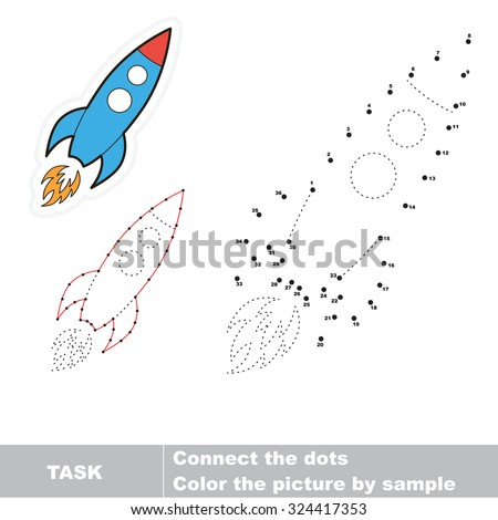 Number game. One cartoon rocket to be traced. - stock vector