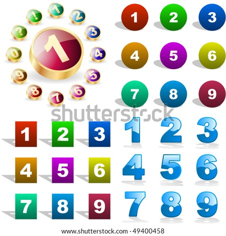 Number icons. Vector great collection. - stock vector