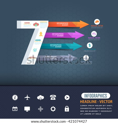 Number 7 Infographics Design and Multicolored Arrows - stock vector