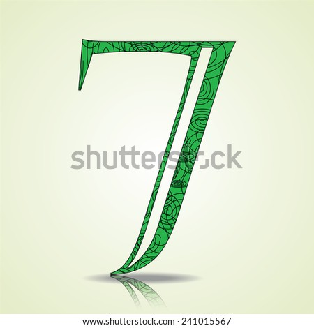 Number of Collection made of swirls - 7 Vector illustration - stock vector