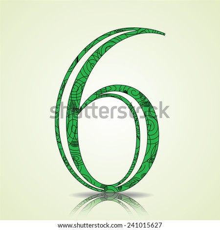 Number of Collection made of swirls - 6 Vector illustration - stock vector