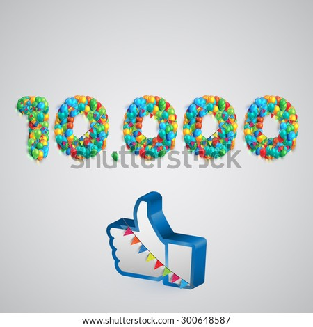 Number of likes with a thumbs up sign, vector - stock vector