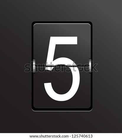 Number 5 on black panel background vector. - stock vector