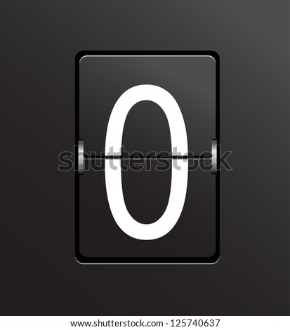 Number 0 on black panel background vector. - stock vector