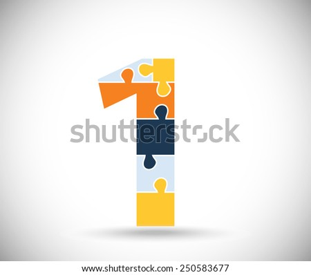 Number one consisted of  color puzzles  on the gray backdrop. - stock vector