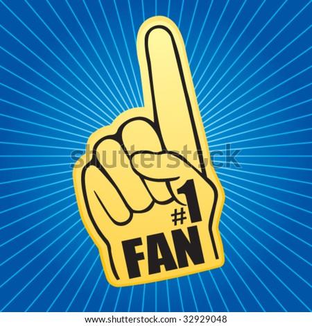 number one fan foam hand on blue starburst - stock vector