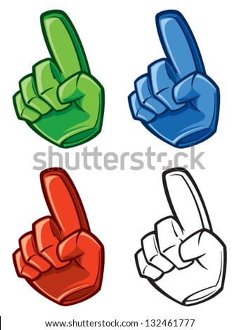 Number one finger - stock vector