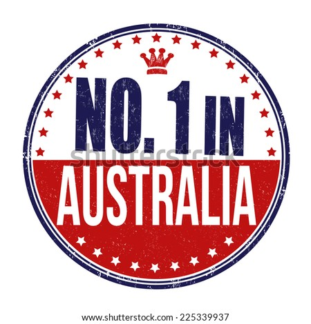 Number one in Australia grunge rubber stamp on white background, vector illustration - stock vector