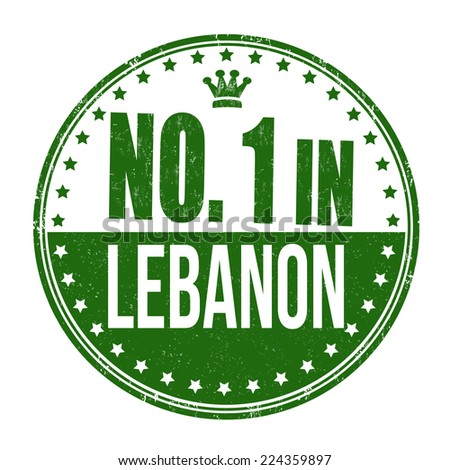 Number one in Lebanon grunge rubber stamp on white background, vector illustration - stock vector