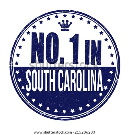 Number one in South Carolina grunge rubber stamp on white background, vector illustration - stock vector