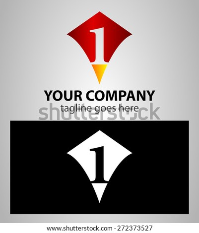 number one 1 logo icon design template elements  - stock vector
