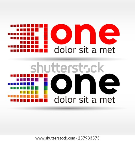 Number one logo icon design template elements. Vector color sign. - stock vector