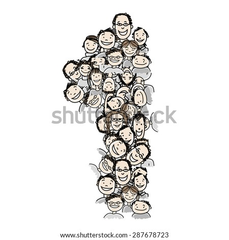 Number one, people crowd, vector alphabet for your design - stock vector