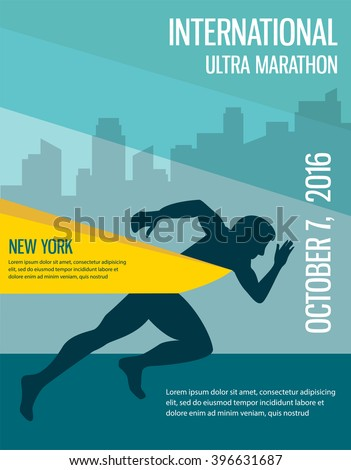 number one winner at a  finish  line. poster design template - stock vector