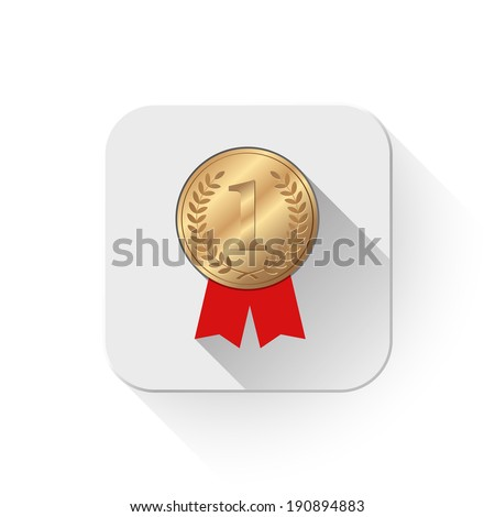 Number One winner ribbon With long shadow over app button - stock vector