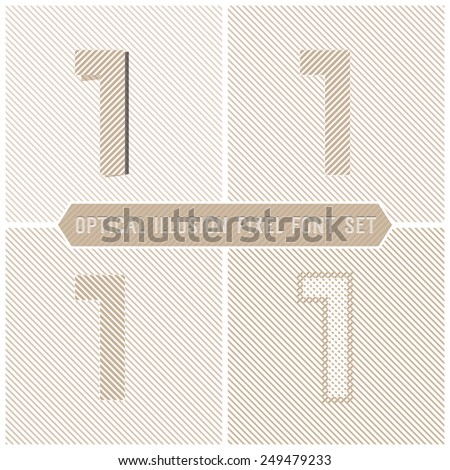 Number 1 - Optical Illusion Alphabet Set - stock vector