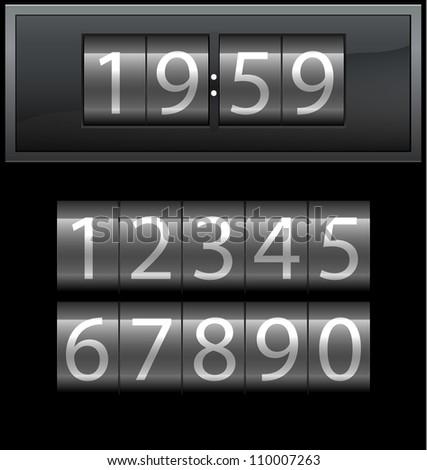 Number set from 1 to 9, digital clock, dark, vector illustration - stock vector