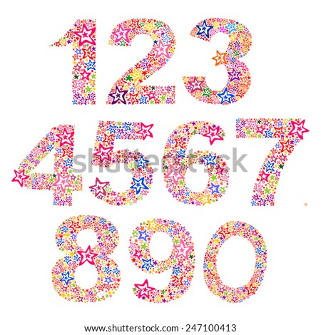 Number set made of stars. vector illustration  - stock vector